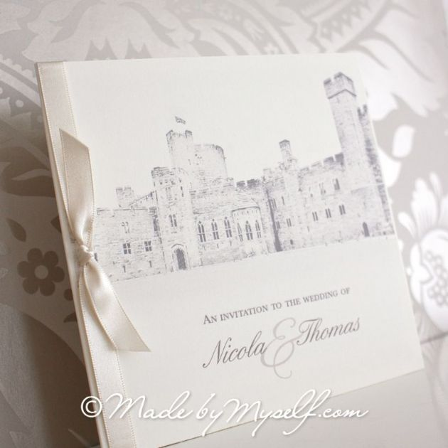 Peckforton Castle Pocketfold Wedding Invitation - Includes RSVP & Guest Information (1)